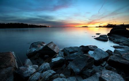 Фото закат, море, камни, пейзаж