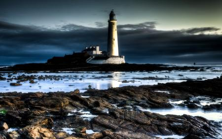 Заставки море, ночь, пейзаж, маяк