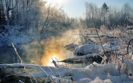 Фотографии зима, закат, река, туман