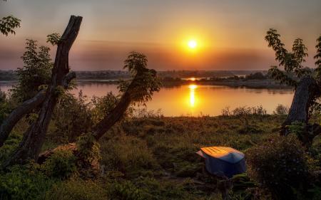 Фотографии закат, река, лодка