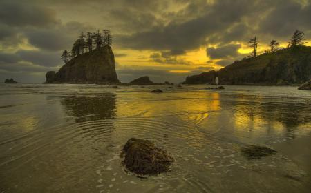 Обои море, пляж, скалы, закат