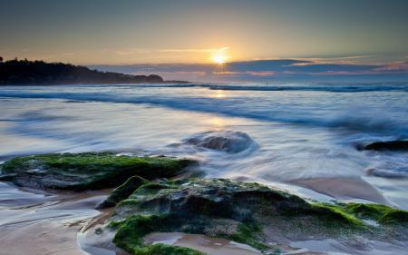 Фото море, закат, камни, пейзаж