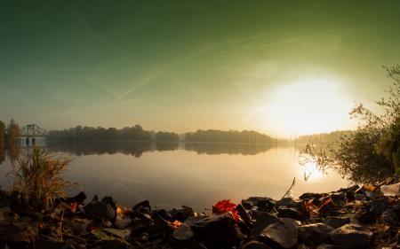Фото утро, озеро, осень