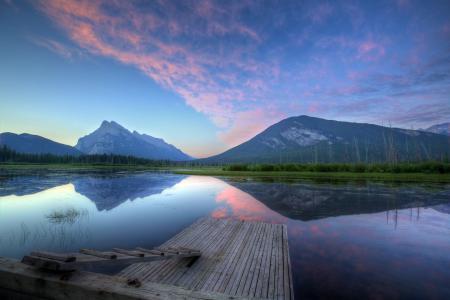 Заставки озеро, лето, природа, мост