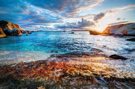 Обои побережье, море, небо, рассвет