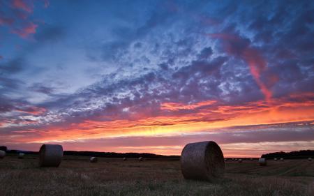 Картинки поле, сено, закат, пейзаж