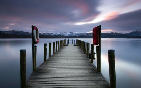Обои озеро, ночь, мост