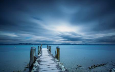 Фотографии море, мост, ночь, пейзаж