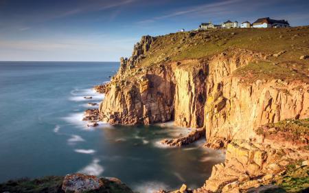 Картинки море, скалы, дома, пейзаж