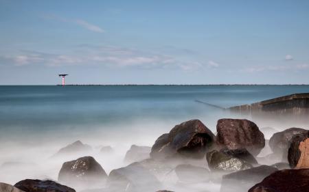 Заставки море, маяк, камни, пейзаж