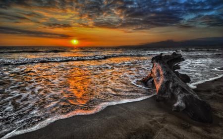 Заставки море, закат, небо, каряга.