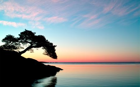 Фото природа, пейзаж, озеро, закат