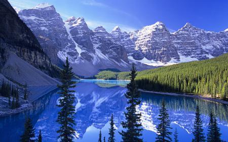Обои горы, озеро, лес