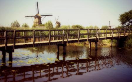 Фотографии река, мост, мельницы, пейзаж