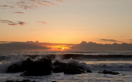 Обои закат, море, волны, пейзаж
