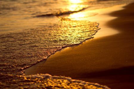 Картинки пляж, песок, закат, вода