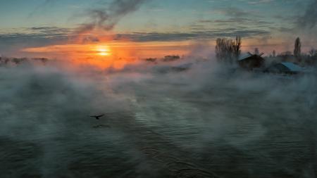 Фото Река, туман, солнце, утро