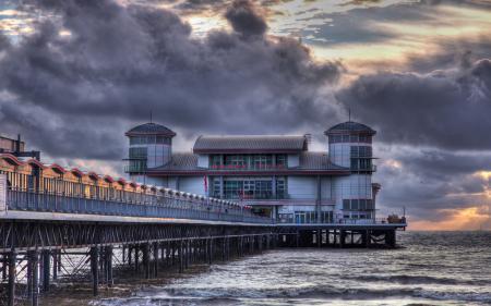 Обои Weston-Super-Mare Pier in HDR, море, мост, закат