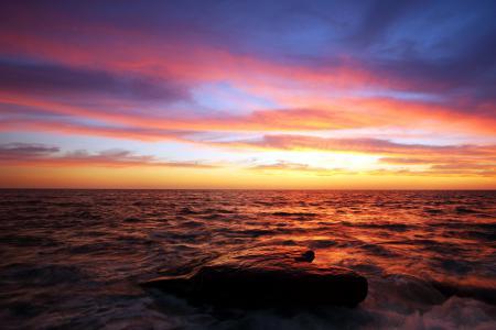 Обои море, закат, небо, пейзаж