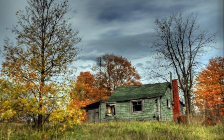 Картинки дом, деревья, осень