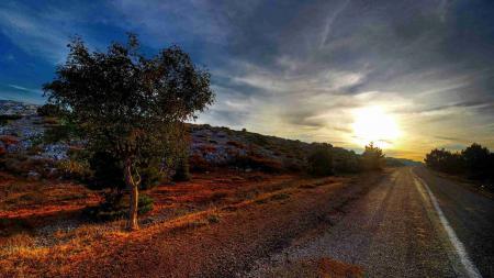 Заставки дорога, закат, пейзаж