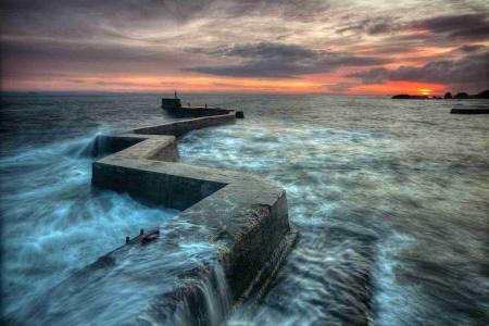 Фото море, ночь, причал, пейзаж