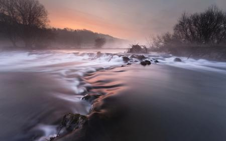 Фотографии закат, река, туман, пейзаж