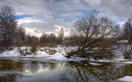 Заставки храм, река, зима, пейзаж