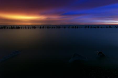 Фотографии океан, пейзаж, закат, сваи