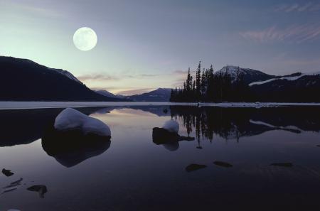 Картинки пейзаж, зима, озеро, горы