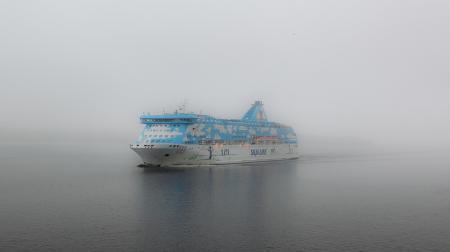 Заставки море, туман, корабль, лайнер