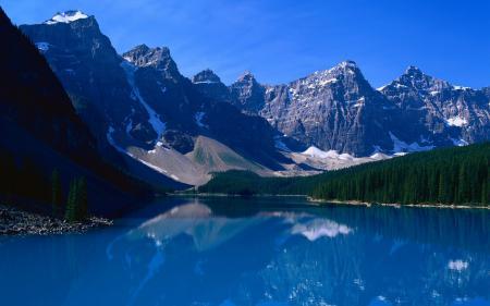 Картинки горы, снег, озеро, синее небо