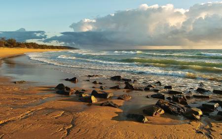 Обои камни, море, облака