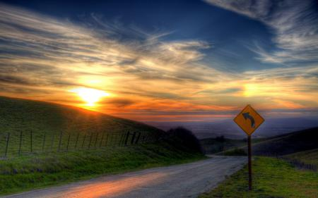 Картинки закат, дорога, знак, HDR