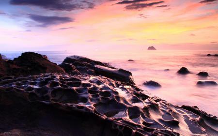 Фото закат, море, скалы, пейзаж