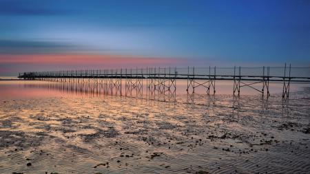 Картинки мост, закат, природа, пейзаж