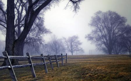 Заставки поле, забор, деревья, пейзаж