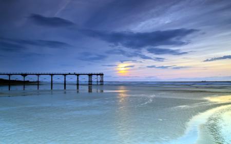 Картинки море, закат, мост, пейзаж