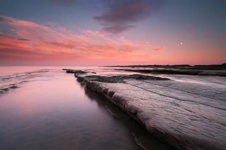 Заставки море, скалы, закат, небо