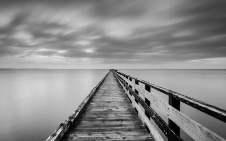 Фото озеро, мост, туман