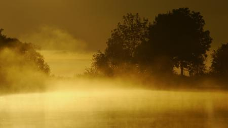 Картинки озеро, туман, закат, пейзаж