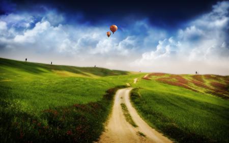 Фотографии Пейзаж, трава, дорога, деревья
