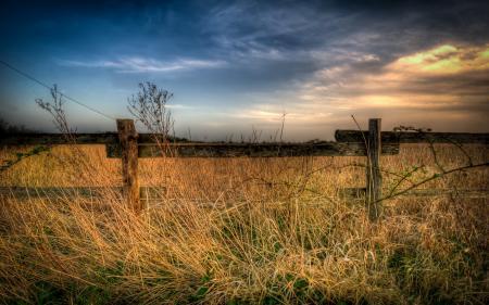 Обои забор, поле, пейзаж