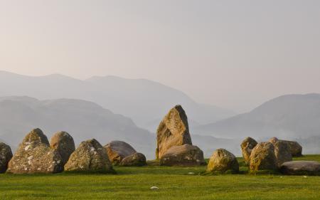 Обои камни, трава, горы, холмы