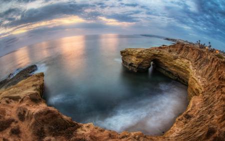 Заставки San Diego, Sunset Cliffs Cove, Pacific Ocean, Rock
