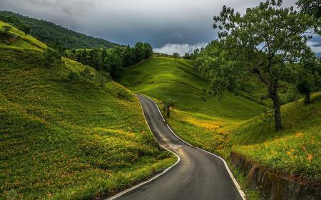 Фотографии автомобильная, дорога, среди, холмов