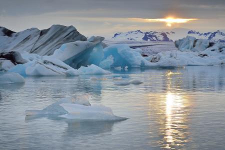 Заставки Jokulsarlon Lagoon, Iceland, Atlantic Ocean, лагуна Ёкюльсаурлоун