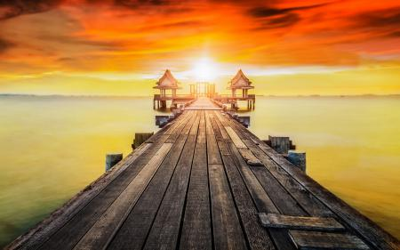 Фотографии Wooded bridge, bay, beach, bridge