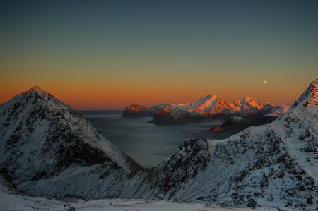 Фото море, залив, горы, снег