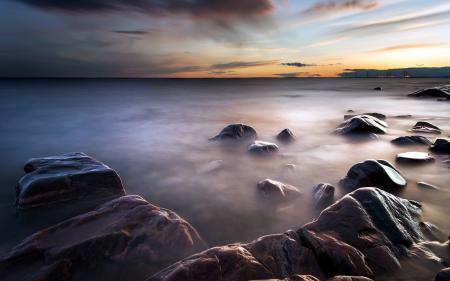 Обои море, камни, ночь, пейзаж